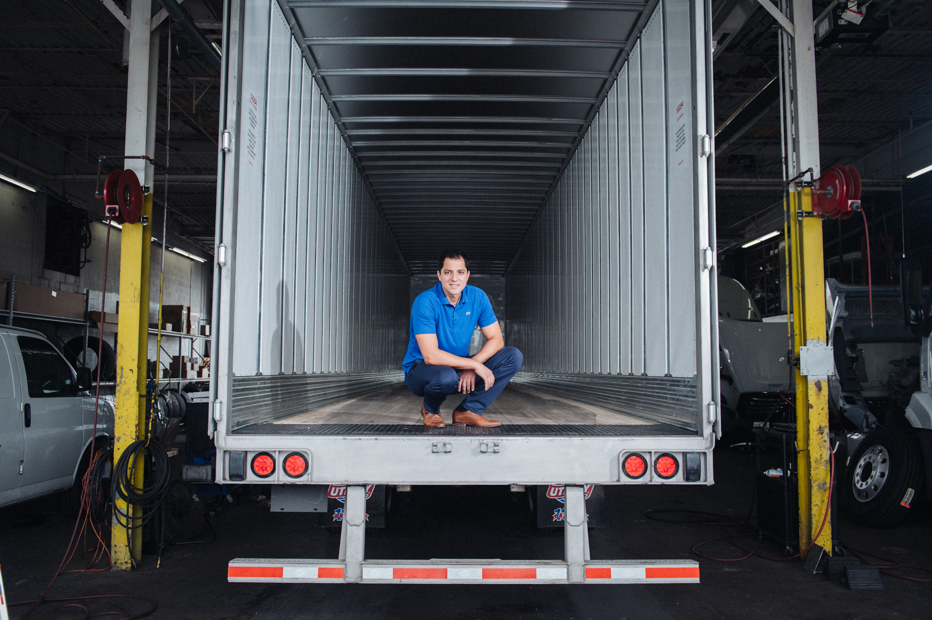 Nick Sinanovic in a Vega Transport Truck